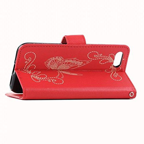 iPhone 7 Hülle, Vandot PU Leder Book Schutzhülle für iPhone 7 Malerei Painting Lederhülle Flip Case Cover mit Unsichtbarer Magnet Magnetverschluss Handyhalter Brieftasche Muster Pattern Butterfly Blum Laser Rot