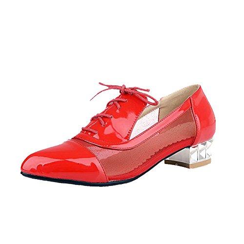 Senhoras Dedo Baixo reflexo Apontado Lace Materiais Salto Puro Bombas Agoolar De Sapatos Vermelho HIr4H