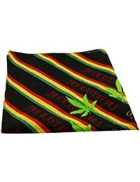 Bandana Head Scarf Rasta Rastafari Bob Marley Cannabis Leaf 100% Cotton Mens Stripes