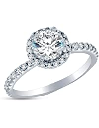 Sólido 14 K oro blanco alta calidad CZ cúbico zirconia Halo anillo de compromiso – redondo