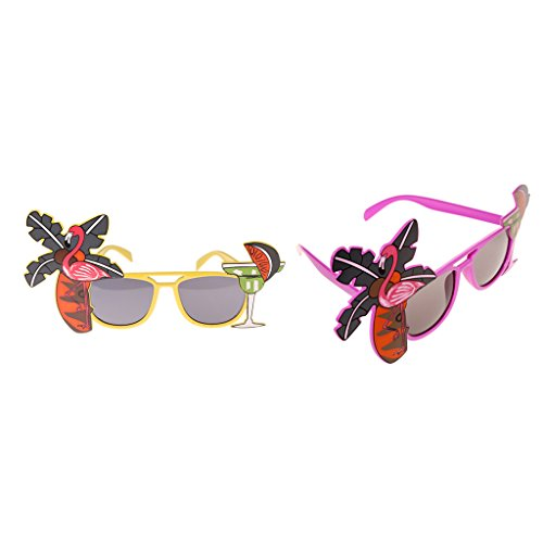 Sharplace 2er Set Lustige Hawaii Flamingo Sonnenbrillen für Party Kostüm Cocktail Hawaiische Spaßbrillen Funbrille Brille