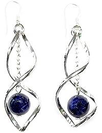 Boucles d'oreilles en Lapis Lazuli sur crochets en Argent massif 925