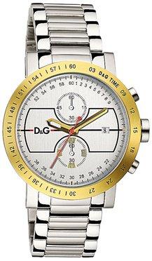 Dolce & Gabbana D&G Dolce&Gabbana – Reloj analógico de cuarzo para hombre con correa de acero inoxidable, color plateado