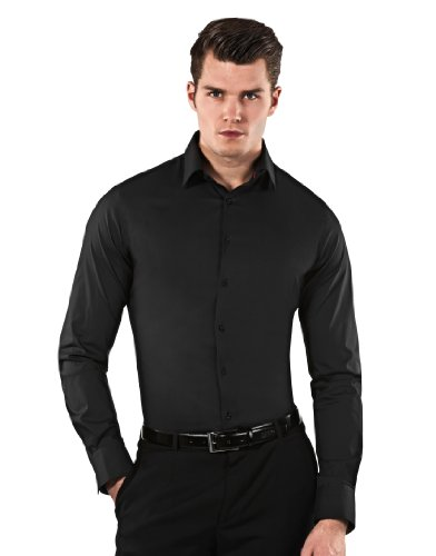 Farbe Krawatte Schwarzes Hemd (Vincenzo Boretti Herren-Hemd Body-Fit (Besonders Slim-Fit Tailliert) Uni-Farben Bügelleicht - Männer Lang-Arm Hemden für Anzug mit Krawatte Business Hochzeit Freizeit Schwarz 43/44)