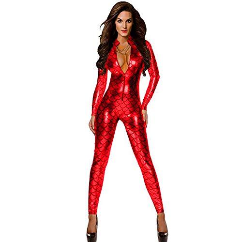 Damen PU Leder Fischschuppenmuster Sexy Unterwäsche Bodysuit Dessous Lingerie Porno Nachtwäsche Kleid Erotische Set Frauen Erwachsene Performance Kostüme,Red,S -