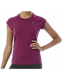 Asics Caps manga larga camiseta de correr para mujer, color fucsia, tamaño large