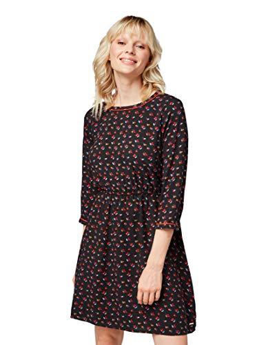 TOM TAILOR Denim Damen Kleid Romantisches Langarmkleid mit tollem Druck, Schwarz (Minimal Flower Allov 14465), XX-Large