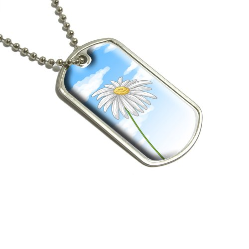 White Daisy Flower–Blue Skies Militärische Erkennungsmarke Gepäck Schlüsselanhänger