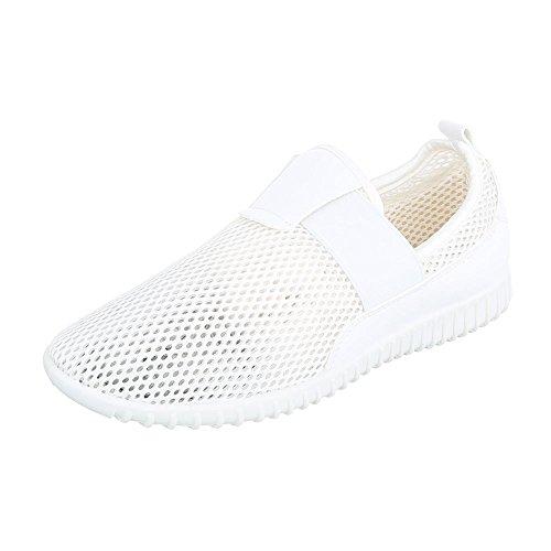 Slipper Damenschuhe Low-Top Luftig Leichte Ital-Design Halbschuhe Weiß