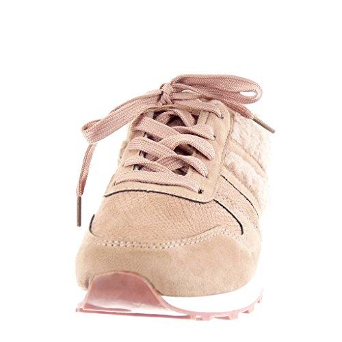 Angkorly - Scarpe Moda Sneaker bi-materiale donna pelliccia pelle di serpente Tacco tacco piatto 2 CM Rosa