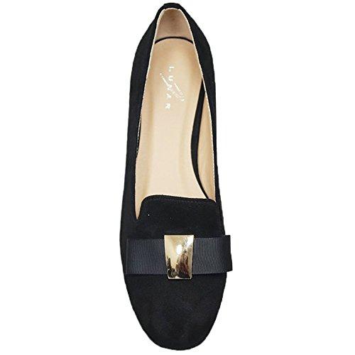 Fantasia Boutique flc053 Rutter Noeud Mocassin Faux Daim Strass Talon Bas sans Lacets Chaussures Plates Noir