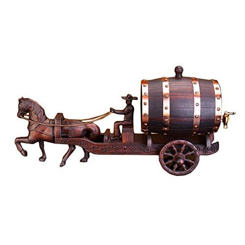 GFFXIQI Mahagoni-Pferd-Weinfass, Massivholzwein-Regal, stilvolles Holzweingestell,...