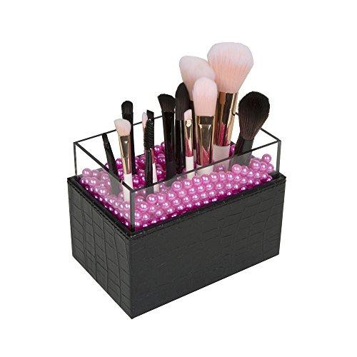 JackCubeDesign Brocha de maquillaje de cuero Lápiz labial cosmético Lápiz Pen Holder Organizador Caja de almacenamiento con perlas rosadas y cubierta de acrílico (Negro, 9.4 x 14.5 x 10 cm) -: MK283A