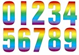 High Visible Rainbow Wheelie Bin Self Adhesive Numbers Stickers For Cafe Hotels Shops Office Dustbins