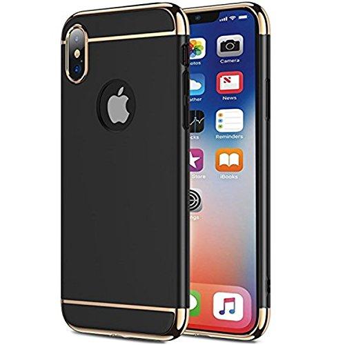 iPhone X Hülle,WATACHE [Unterstützung Wireless Charging] 3 in 1 Ultra Slim Fit Shell Matte Finish Hartschalenetui + Abnehmbare Chrome Frame Kratzfest Schutzhülle für Apple iPhone X / 10 (Schwarz) (Frame Chrome Schwarz)