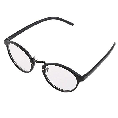 Schwarz Retro Geek Vintage Nerd Große Rahmen Fashion Rund Klar Objektiv Gläser F5
