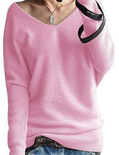Yidarton Damen Mode Kaschmir Pullover übergroße Lose Langen Ärmeln V-Ausschnitt Fledermausflügel Herbst und Winter Warm Strickpullover (Rosa, XL)