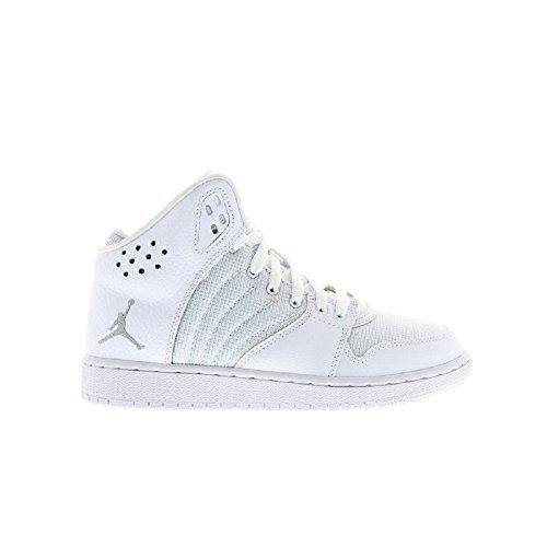 Nike Jordan 1 Flight 4 Bg, Chaussures de Sport Garçon Blanc / argenté / blanc (blanc / argenté métallique - blanc)