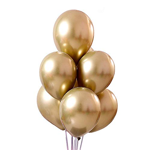 LAKIND Luftballons metallic Gold 50-Pack Luftballon Golden metallic metallballon Hochzeit Dekorationen Geburtstagsparty Liefert (Golden-50pcs)
