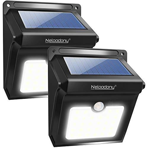 Neloodony Luci Solari, Lampade Solari da Esterno 28 LED con Sensore di...