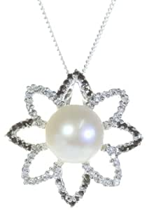 Classical 925 Sterling Silver 10.0mm White Pearl Ladies Pendant + Chain with Cubic Zirconia/CZ