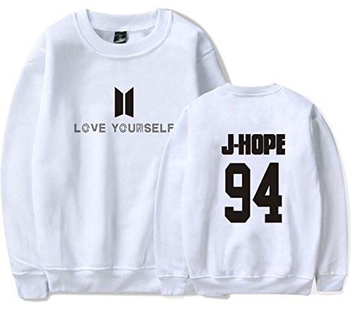 SERAPHY Unisex BTS Felpa Felpe con cappuccio BTS Love Yourself Pullover girocollo super confortevole Suga Jin Jimin Jung Kook J-Hope Rap-Mostro V bianca-94-J HOPE