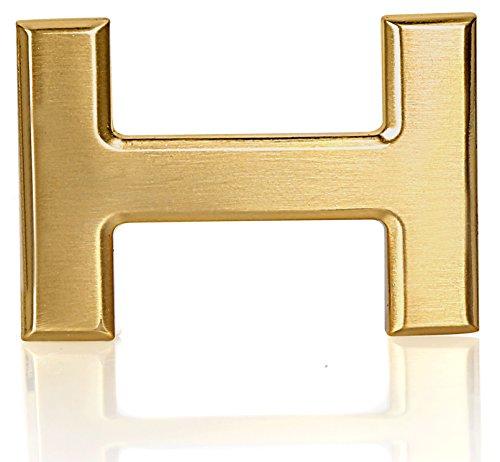 A oder H Gürtelschnalle für Ledergürtel in der Breite von 40mm in echt Gold Vergoldet 24k (H)