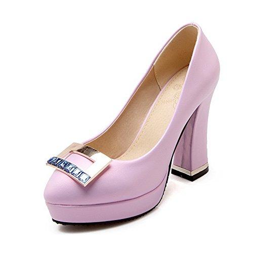 AllhqFashion Damen Ziehen Auf Pu Leder Rund Zehe Hoher Absatz Eingelegt Pumps Schuhe Lila