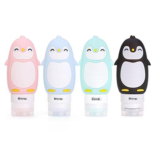 Reise Flasche Silikon Set Tragbar Zubehör Shampoo Karikatur Reiseflasche(Pinguin-4pack)