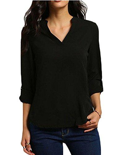 Zixing donna camicia blusa chiffon manica lunga casual elegante v-collo camicetta nero 5xl