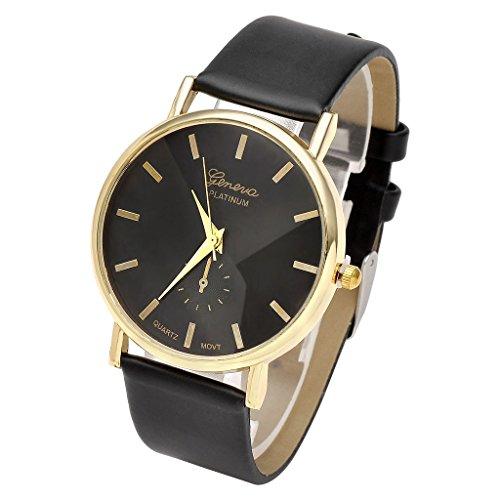 JSDDE Uhren,Eelgant Genf Damen Herren Armbanduhr Lederarmband Damenuhr Vogue Gold Analog Qaurzuhr(Schwarz)