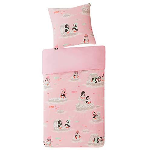 SCM Kinder Bettwäsche 135x200cm Rosa 100% Baumwolle 2-teilig Bettbezug mit Fröhliche Pinguine Kopfkissenbezug 80x80cm mit Renforcé Mädchen Jugendliche Teenager Kinderbett Playing Penguins (Quilts Teenager-mädchen)