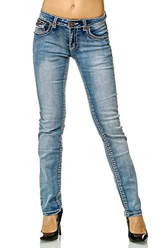 Elara Slim Fit Damen Jeans | Skinny | Jeanshose | Fashion Denim | mit besonderem Design der Nähte | modischer Look und körperbetonter Schnitt | Chunkyrayan | 90-5A Lt.Blue 36