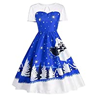19Kenbeton Vintage Dresses for Women Girls,Xmas Tree Print Short Sleeve Large Swing Knee-length Party Banquet Dress for Outdoors Vocation Party Club Daily Wear Blue S