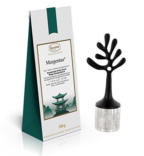 Ronnefeldt Promopack - Morgentau aromatisierter Grüner Tee, 100 g inkl. Teesieb aus Edelstahl