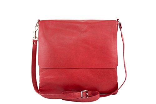 Borsa a spalla in vera pelle postina unisex cuoio marrone MainApps Rosso