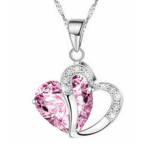 Necklace for Women, Cebbay Fashion Heart Pendant Crystal Rhinestone Silver Chain Necklace