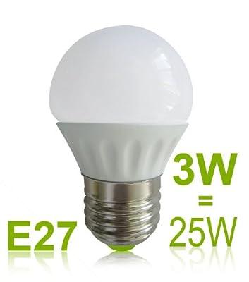 3W E27 G45 LED Lampe Birne, warmweiß Glühbirne, Energiesparlampe ersetzt min. 25W Glühlampe, Topfenform Leuchtmittel, Globe Led Lampe, Keramik Bulb Light