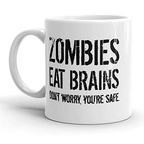 Zombies Eat Brains Mug Funny Halloween Coffee Cup - 11oz