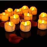 LED Kerzen,12er Gelb LED Flammenlose Kerzen mit Timerfunktion Led Teelichter 6 Stunden an und 18 Stunden aus, flackernde batteriebetriebene kerzen, Gelb - 5