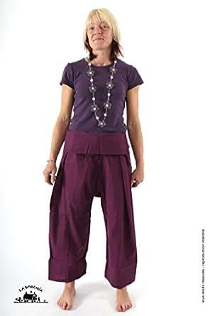Pantalon pecheur coton leger femme - Prune | Taille unique 36 a 54
