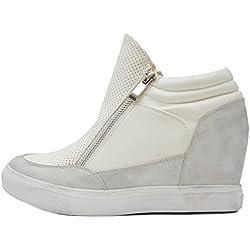 Vain Secrets Sneaker-Wedges in Schwarz oder Weiß (37, Weiß)