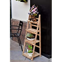Wooden Shelves Foldable Wood Rack Flowers Pot Stands Four Layes Stand