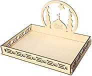 Tinweety Dessert Tray,Wooden Eid Mubarak Table Decoration Dessert Tray,Tableware Tray Display Wood,Ramadan Mubarak DIY Woode