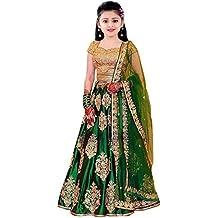 Suppar Sleave Girl's Pure Silk Semi-stitched Lehenga Choli