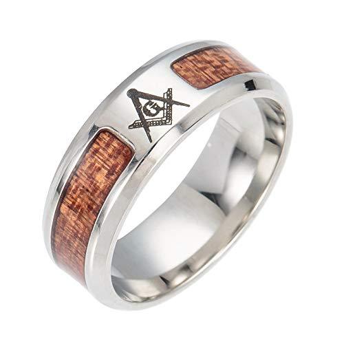 Daesar Edelstahl Ring Herren Punk Freimaurer Masonic G Holz Freundschaftsring Silber Ring Größe 52 (16.6) - Freimaurer Ringe Diamant