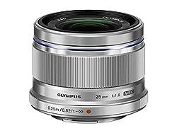 Olympus M.Zuiko Digital 25mm F1.8 Objektiv (lichtstarke Festbrennweite, geeignet für alle MFT-Kameras, Olympus OM-D und PEN Modelle, Panasonic G-Serie) silber