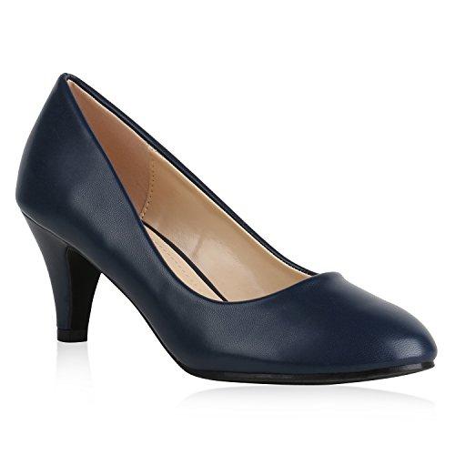 Klassische Damen Pumps Basic Leder-Optik Schuhe Stiletto Mid Heels 159543 Dunkelblau Camargo 41 Flandell Damen Leder Pumps