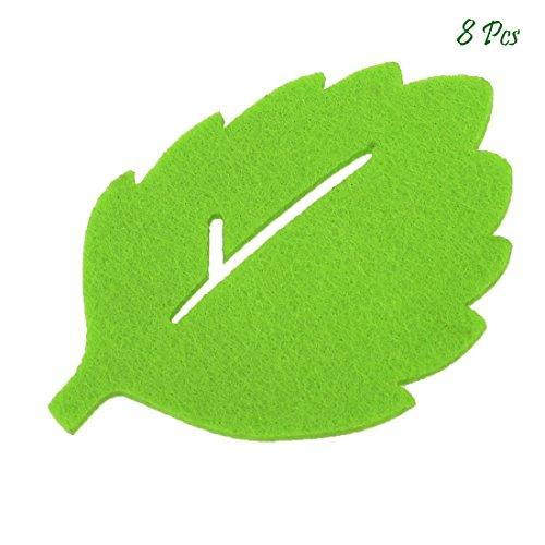 Leaf Muster-Tasse Matte, goodchanceuk 8Antislip Getränke Filz Untersetzer 10x 8cm isolierend grün Leaf Tasse Pad
