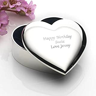 Engraved Heart Trinket Box - Personalised with any message
